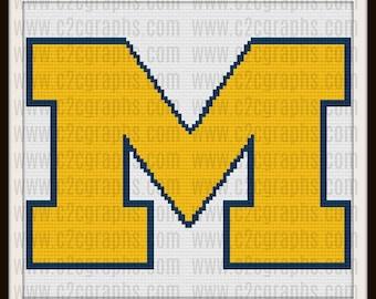 Letter M Block Afghan, C2C Crochet Pattern, Written Row Counts, C2C Graphs, Corner to Corner, Crochet Pattern, C2C Graph