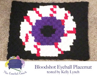 Bloodshot Eyeball Placemat, C2C Crochet Pattern, Written Row by Row, Color Counts, Instant Download, C2C Graph, C2C Pattern