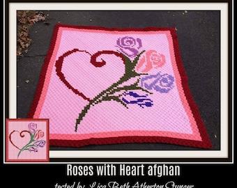 Roses with Heart Afghan, C2C Crochet Pattern, Written Row Counts, C2C Graphs, Corner to Corner, Crochet Pattern, C2C Graph