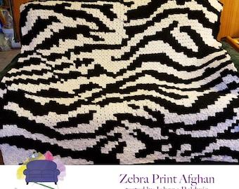 Zebra Afghan, C2C Crochet Pattern, Written Row Counts, C2C Graphs, Corner to Corner Crochet Pattern, C2C Graph