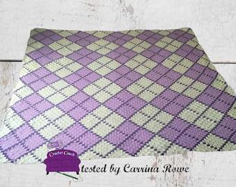 Argyle Afghan  3 Color, C2C Crochet Pattern, Written Row Counts, C2C Graphs, Corner to Corner, Crochet Pattern, C2C Graph
