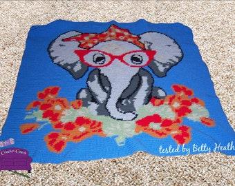 Miss Elephant Afghan, sc Crochet Pattern, tss Crochet Pattern, Written Row by Row, Color Counts, Instant Download, sc Graph, tss Graph