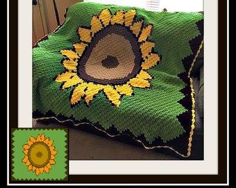 Sunflower Afghan, C2C Crochet Pattern, Written Row Counts, C2C Graphs, Corner to Corner Crochet Pattern, C2C Graph