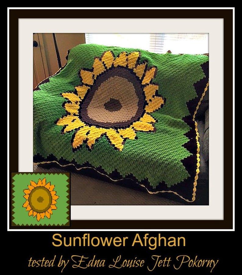 Sunflower Afghan, C2C Crochet Pattern, Written Row Counts, C2C Graphs,  Corner to Corner Crochet Pattern, C2C Graph