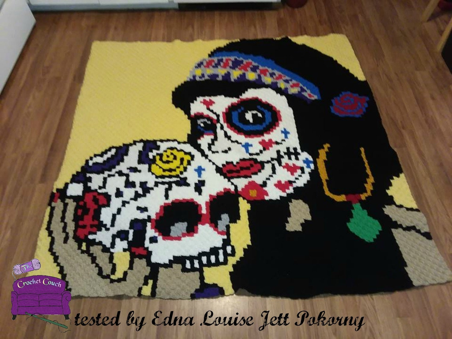 Sugar Skull Pin Up Afghan, C2C Crochet Pattern, Written Row