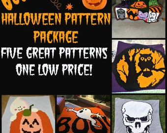 Set of 5 Halloween Afghan Patterns, C2C Crochet Pattern, Written Row by Row, Color Counts, Instant Download, C2C Graph, C2C Pattern