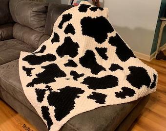 Cow Print Afghan, C2C Crochet Pattern, Written Row Counts, C2C Graphs, Corner to Corner, Crochet Pattern, C2C Graph