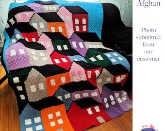 Crowded Houses Blanket, C2C Crochet Pattern, Written Row Counts, C2C Graphs, Corner to Corner, Crochet Pattern, C2C Graph