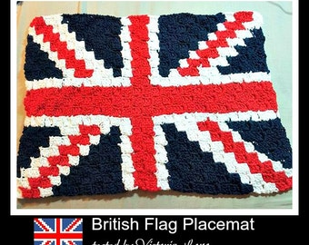 British Flag Placemat, C2C Crochet Pattern, Written Row Counts, C2C Graphs, Corner to Corner, Crochet Pattern, C2C Graph