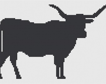 Texas Longhorn Silhouette Afghan, C2C Crochet Pattern, Written Row by Row, Color Counts, Instant Download