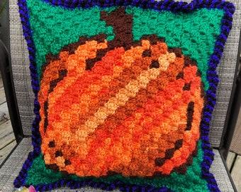 Pumpkin Pillow, C2C Crochet Pattern, Written Row by Row, Color Counts, Instant Download, C2C Graph, C2C Pattern, Crochet Pillow