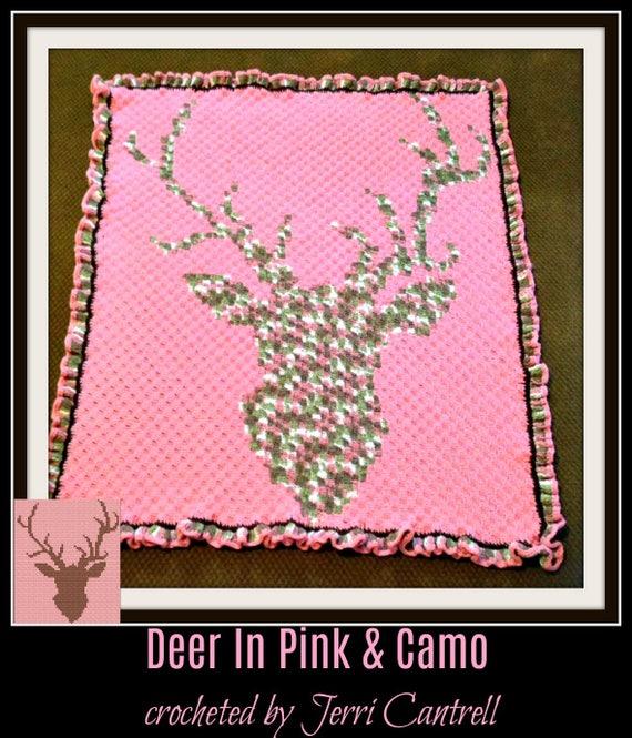 Deer Head Pink Afghan, C2C Crochet Pattern, Written Row Counts, C2C Graphs,  Corner to Corner, Crochet Pattern, C2C Graph