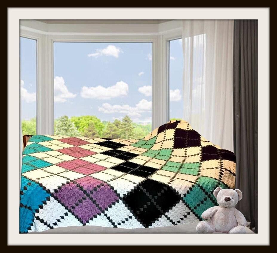 Argyle Afghan, C2C Crochet Pattern, Written Row Counts