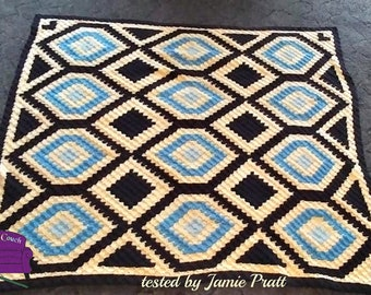Radiant Diamond Quilt Afghan, C2C Crochet Pattern, Written Row by Row, Color Counts, Instant Download, C2C Graph, C2C Pattern, Graphgan