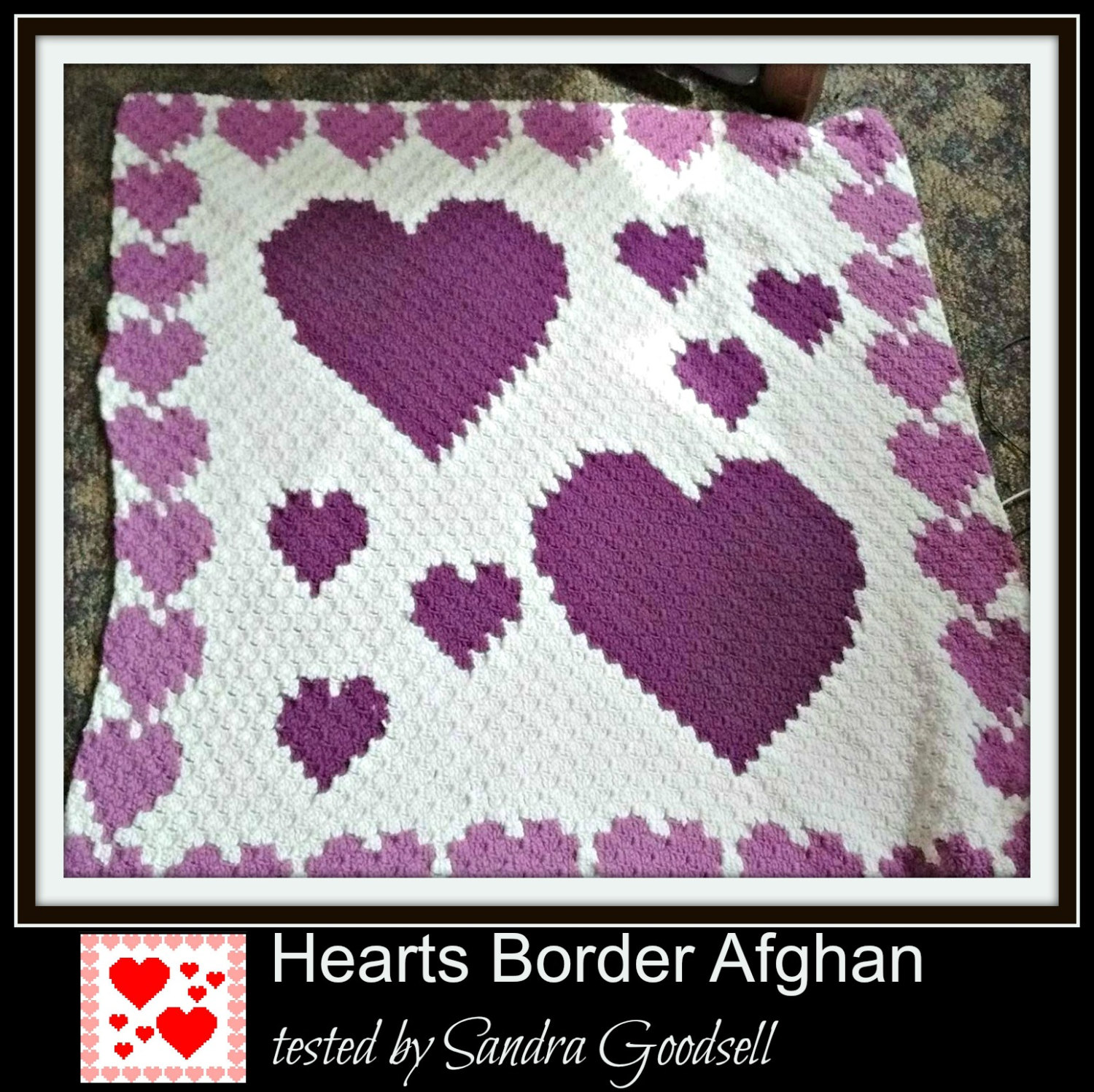 C2c Graph Hearts Border Afghan Word Chart Heart Shape Crochet Pattern Diagram Gallery Photo