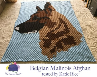 Belgian Malinois Afghan, C2C Crochet Pattern, Written Row by Row, Color Counts, Instant Download, C2C Graph, C2C Pattern, Graphgan Pattern