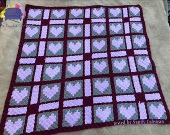 Edna Quilt Blanket, C2C Crochet Pattern, Written Row Counts, C2C Graphs, Corner to Corner, Crochet Pattern, C2C Graph