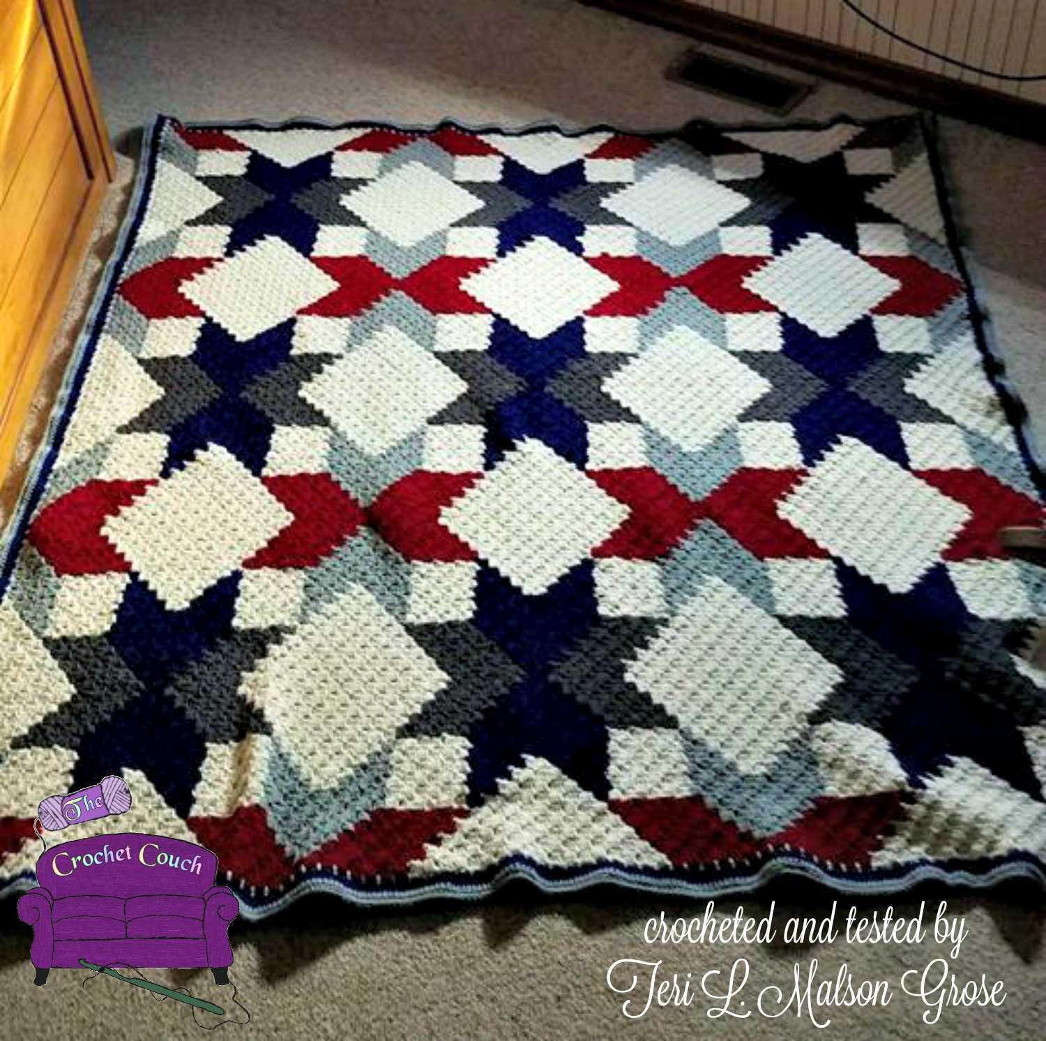 Quilted Stars Large Blanket, C2C Crochet Pattern, Written Row Counts