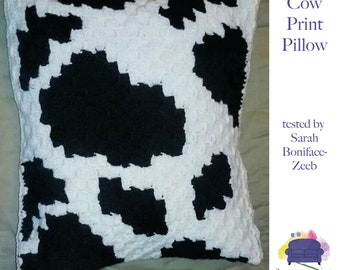 Cow Print Pillow, C2C Crochet Pattern, Written Row by Row, Color Counts, Instant Download, C2C Graph, C2C Pattern, Crochet Pillow