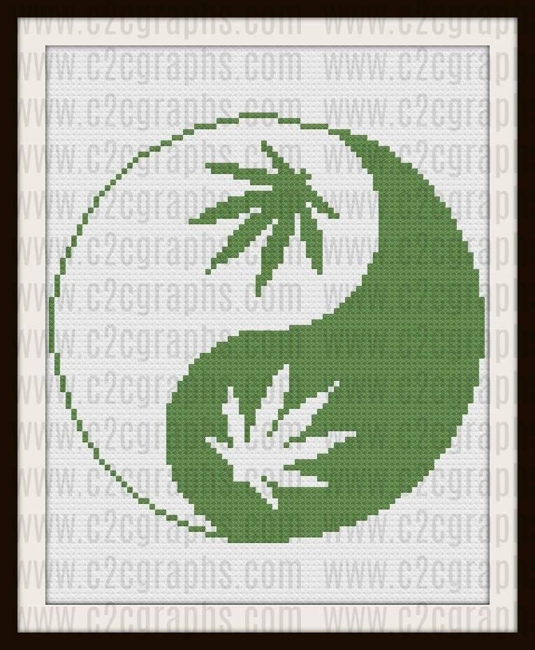 Marijuana Yin Yang Twin Afghan C2c Crochet Pattern Written Row