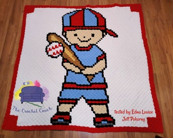 Baseball Boy Kids Afghan, C2C Crochet Pattern, Written Row Counts, C2C Graphs, Corner to Corner, Crochet Pattern, C2C Graph