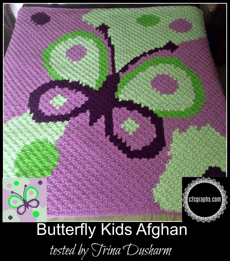 Butterfly Kids Afghan, C2C Crochet Pattern, Written Row Counts, C2C Graphs,  Corner to Corner, Crochet Pattern, C2C Graph