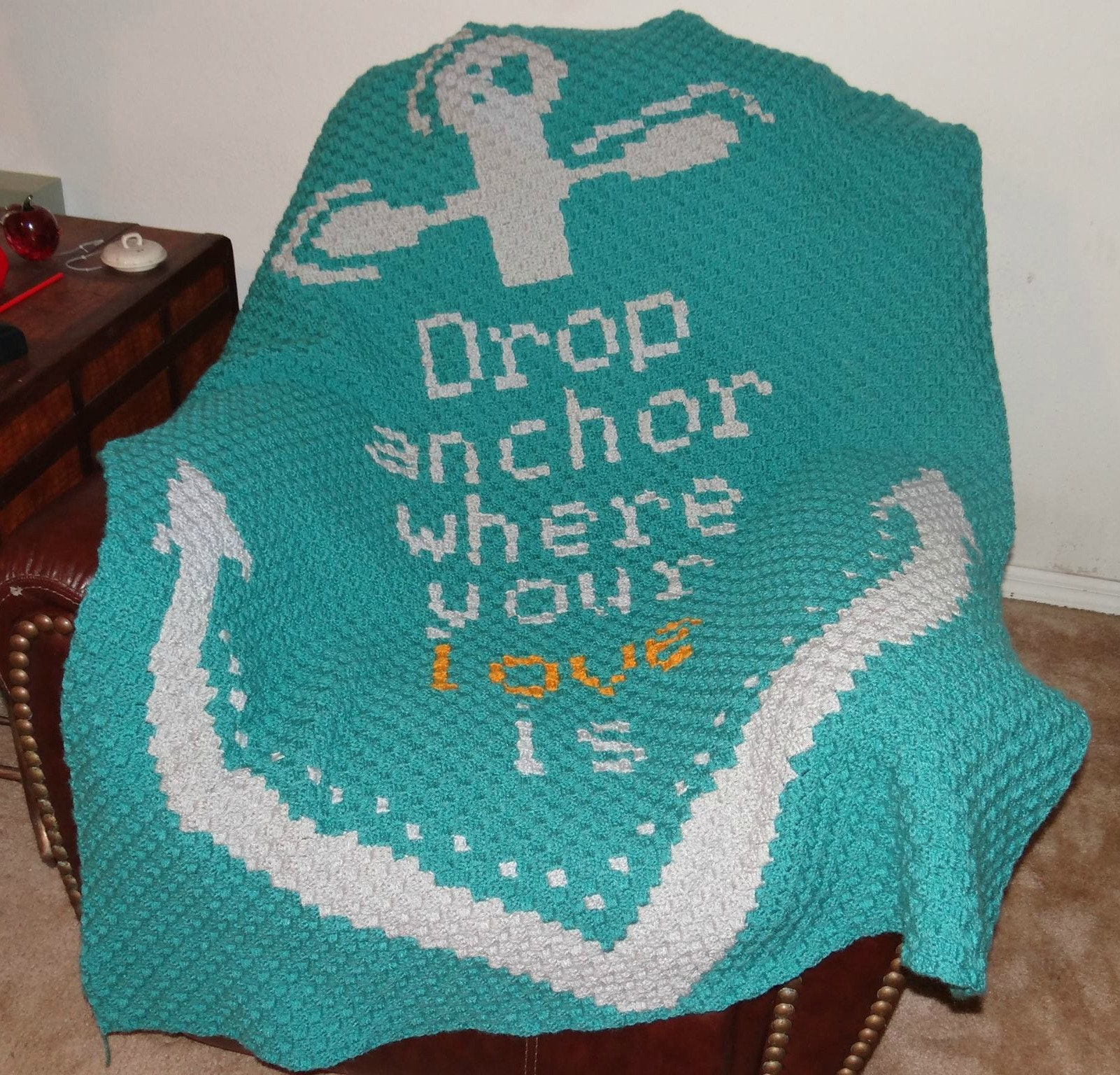 Drop Anchor Afghan, C2C Crochet Pattern, Written Row by Row