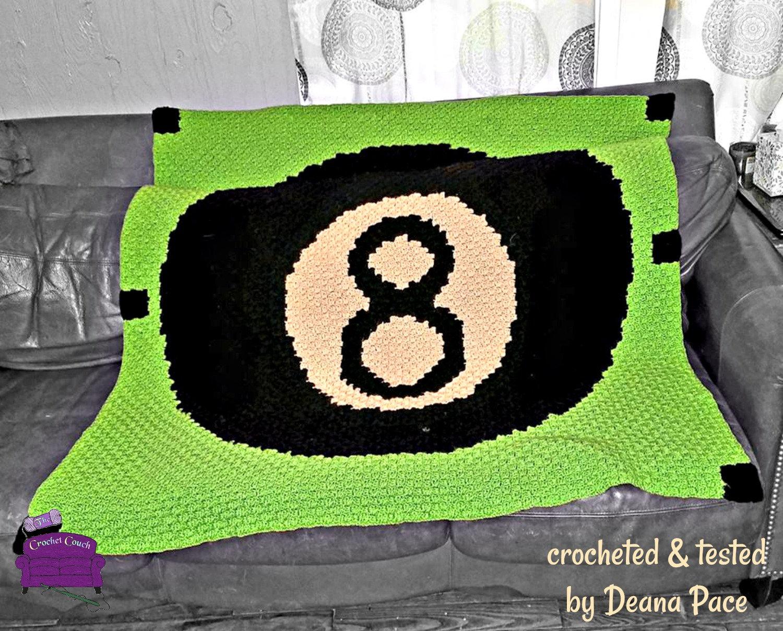 Eight Ball Afghan, C2C Crochet Pattern, Written Row Counts, C2C