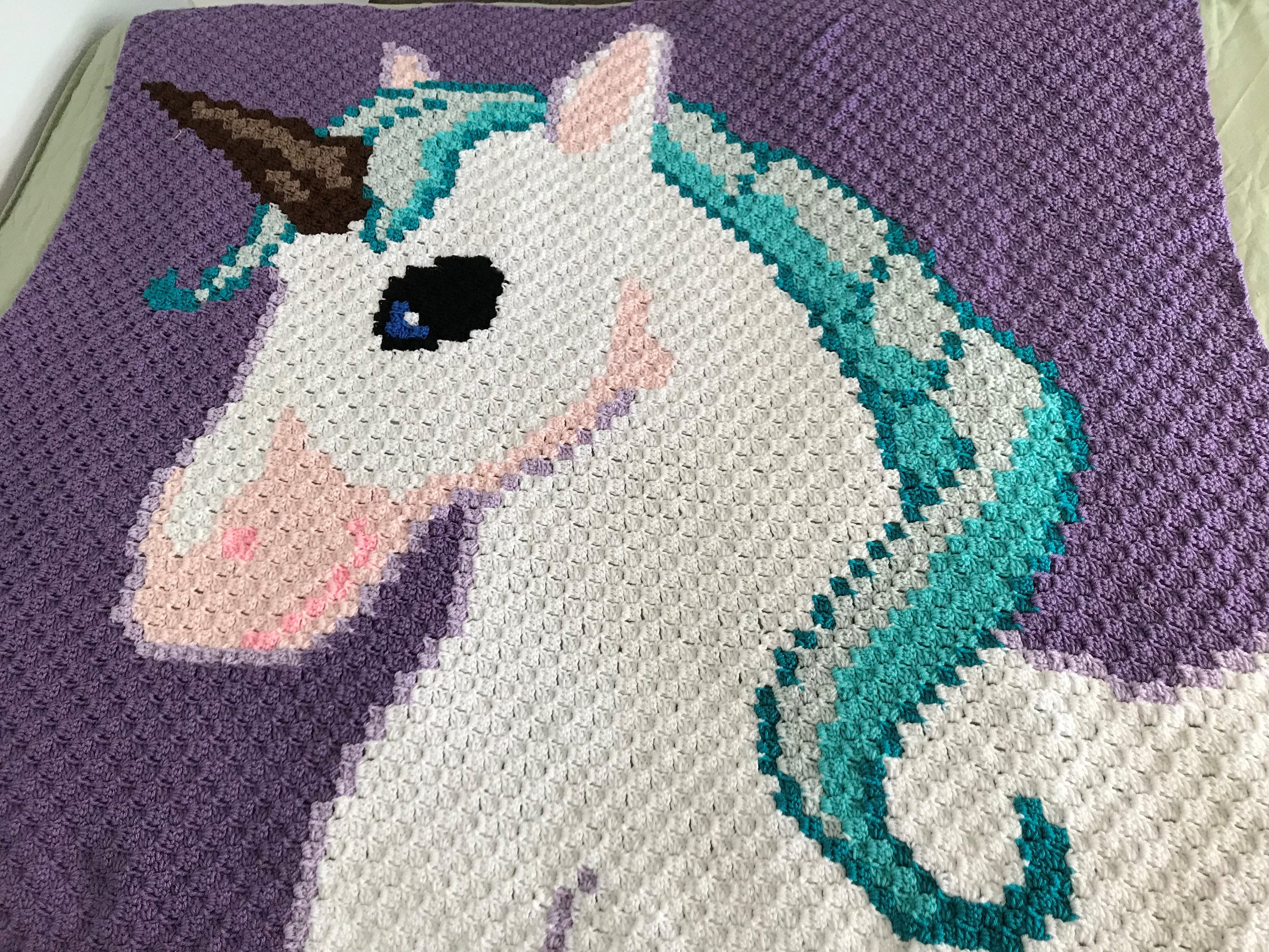 Unicorn Kids Afghan C2C Crochet Pattern, Written Row by ...