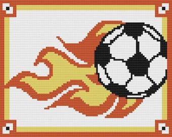 Flaming Soccer Ball Afghan, C2C Crochet Pattern, Written Row Counts, C2C Graphs, Corner to Corner, Crochet Pattern, C2C Graph