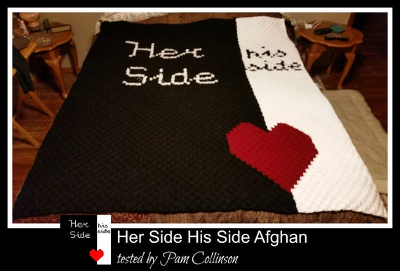 Her Side His Side Afghan, C2C Crochet Pattern, Written Row Counts, C2C  Graphs, Corner to Corner Crochet Pattern, C2C Graph