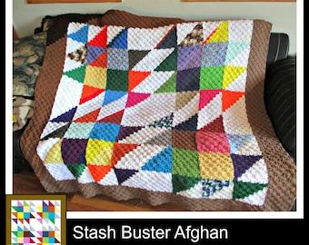 Stash Buster Quilt Afghan, C2C Crochet Pattern, Written Row Counts, C2C Graphs, Corner to Corner, Crochet Pattern, C2C Graph