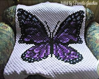 Butterfly Afghan, C2C Crochet Pattern, Written Row Counts, C2C Graphs, Corner to Corner, Crochet Pattern, C2C Graph