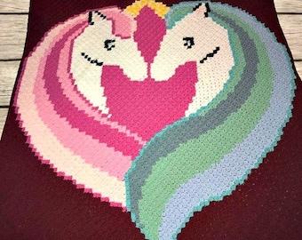 Unicorn Love Afghan, C2C Crochet Pattern, Written Row Counts, C2C Graphs, Corner to Corner, Crochet Pattern, C2C Graph