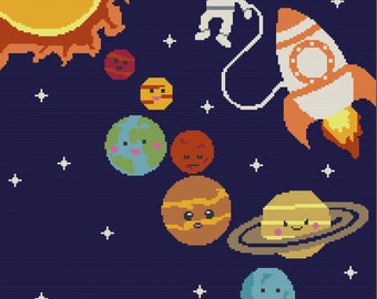Solar System Kids Afghan , SC / TSS Crochet Pattern, Written Row Counts for single crochet and tunisian simple stitch