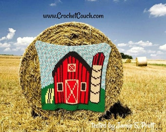 Barn for Kids Afghan, C2C Graph, Written Word Chart