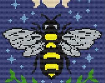 Celestial Bee Afghan, C2C Crochet Pattern, Written Row by Row, Color Counts, Instant Download, C2C Graph, C2C Pattern, C2C Crochet, Graphgan