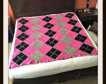 Argyle Afghan 4 Color, C2C Crochet Pattern, Written Row Counts, C2C Graphs, Corner to Corner, Crochet Pattern, C2C Graph