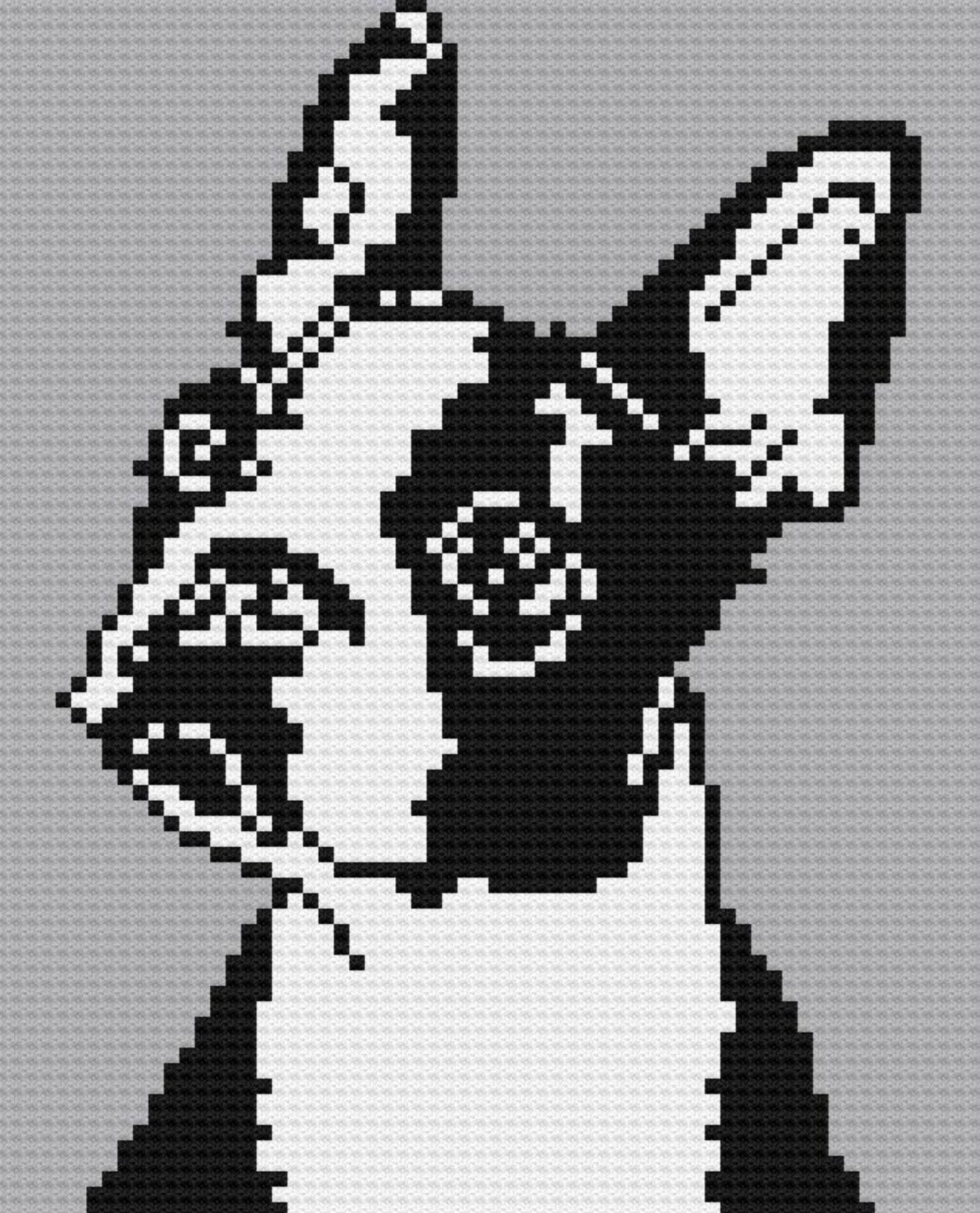 Boston Terrier, C2C Crochet Pattern, Written Row Counts, C2C