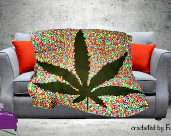 Marijuana Leaf Afghan, Black Background, C2C Crochet Pattern, Written Row Counts, C2C Graphs, Corner to Corner, Crochet Pattern, C2C Graph