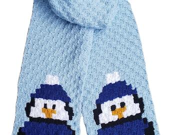 Penguin Scarf, C2C Crochet Pattern, Written Row Counts, C2C Graphs, Corner to Corner Crochet Pattern, C2C Graph