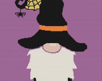 Halloween Gnome Afghan , SC / TSS Crochet Pattern, Written Row Counts for single crochet and tunisian simple stitch