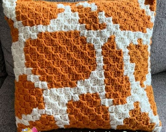 Giraffe Print Pillow, C2C Crochet Pattern, Written Row by Row, Color Counts, Instant Download, C2C Graph, C2C Pattern, Crochet Pillow