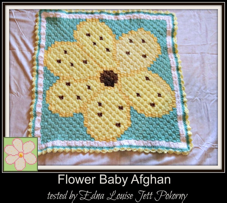 Flower Baby Afghan, C2C Crochet Pattern, Written Row Counts, C2C Graphs,  Corner to Corner, Crochet Pattern, C2C Graph