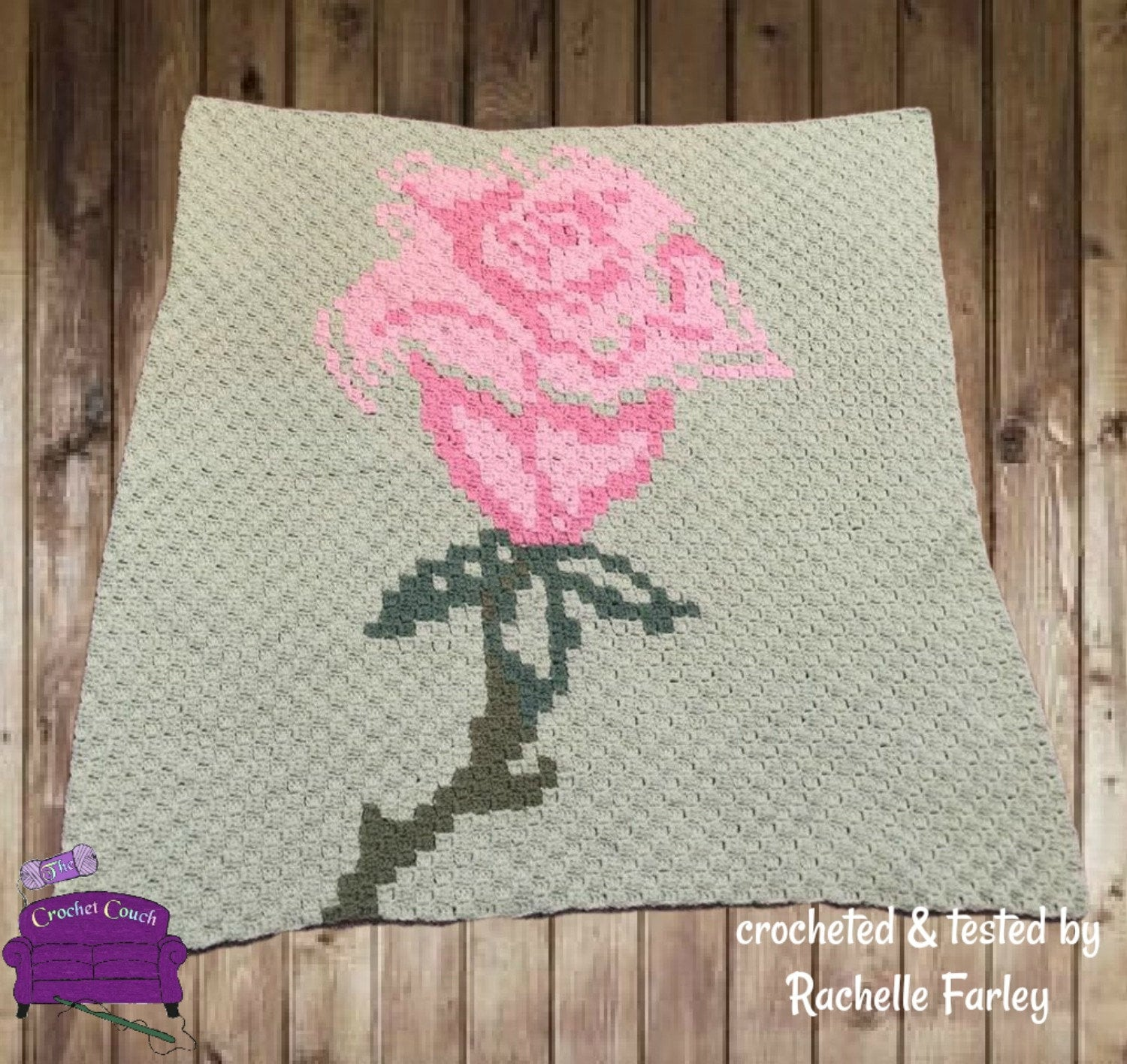 Single Rose Throw, C2C Crochet Pattern, Written Row by Row, Color