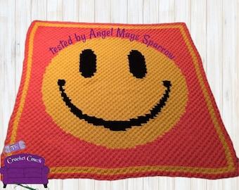 Smiley Face Afghan, C2C Crochet Pattern, Written Row Counts, C2C Graphs, Corner to Corner, Crochet Pattern, C2C Graph