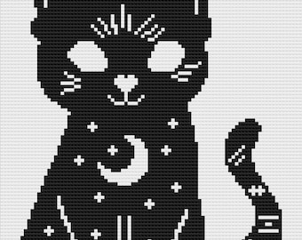 Celestial Cat  Afghan, Mini C2C Crochet Pattern, Written Row by Row Color Counts, Instant Download