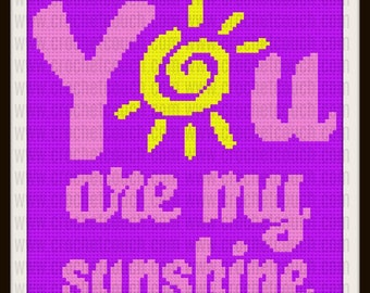 You Are My Sunshine,  C2C Graph & Written Word Chart, Sunshine Afghan 2