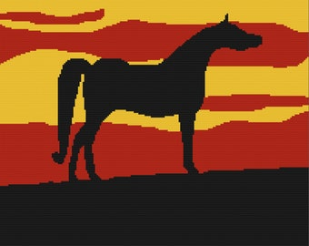 Horse at Sunset Afghan, TSS Graph, SC Graph, Crochet Pattern, Written Row by Row, Instant Download, Graphgan