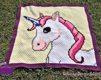Unicorn Blanket, C2C Crochet Pattern, Written Row Counts, C2C Graphs, Corner to Corner, Crochet Pattern, C2C Graph